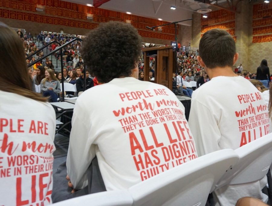 Dons for Life members sport their club apparel, which features a Sister Helen Prejean quote on the back, as they listen to Sister Helen herself give a speech to the CCHS student body.