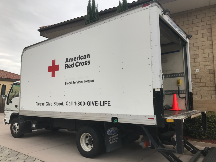 The American Red Cross truck visits CCHS campus last Friday as part of the  Spring Blood Drive. CCHS students were given the chance to donate all day.