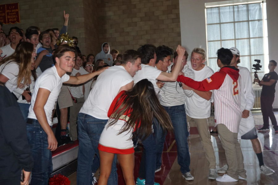 CCHS juniors get pumped up during the Spring Sports Rally.