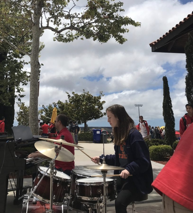 An active member in the CCHS band, Krissy Logeman 20 plays the drums alongside her classmates to welcome all CCHS students to lunch in celebration of the ending of the school year.