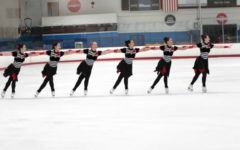 Remy Reeb '20 (second from the right) and her team members perform the wheel element during their annual 2018 showcase at the San Diego Ice Arena.