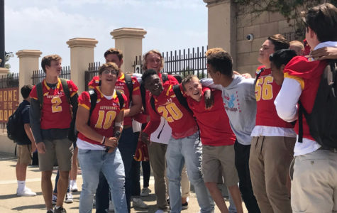 Members of the CCHS Varsity football team and other students gather during lunch Friday to sing karaoke, showcasing their camaraderie.