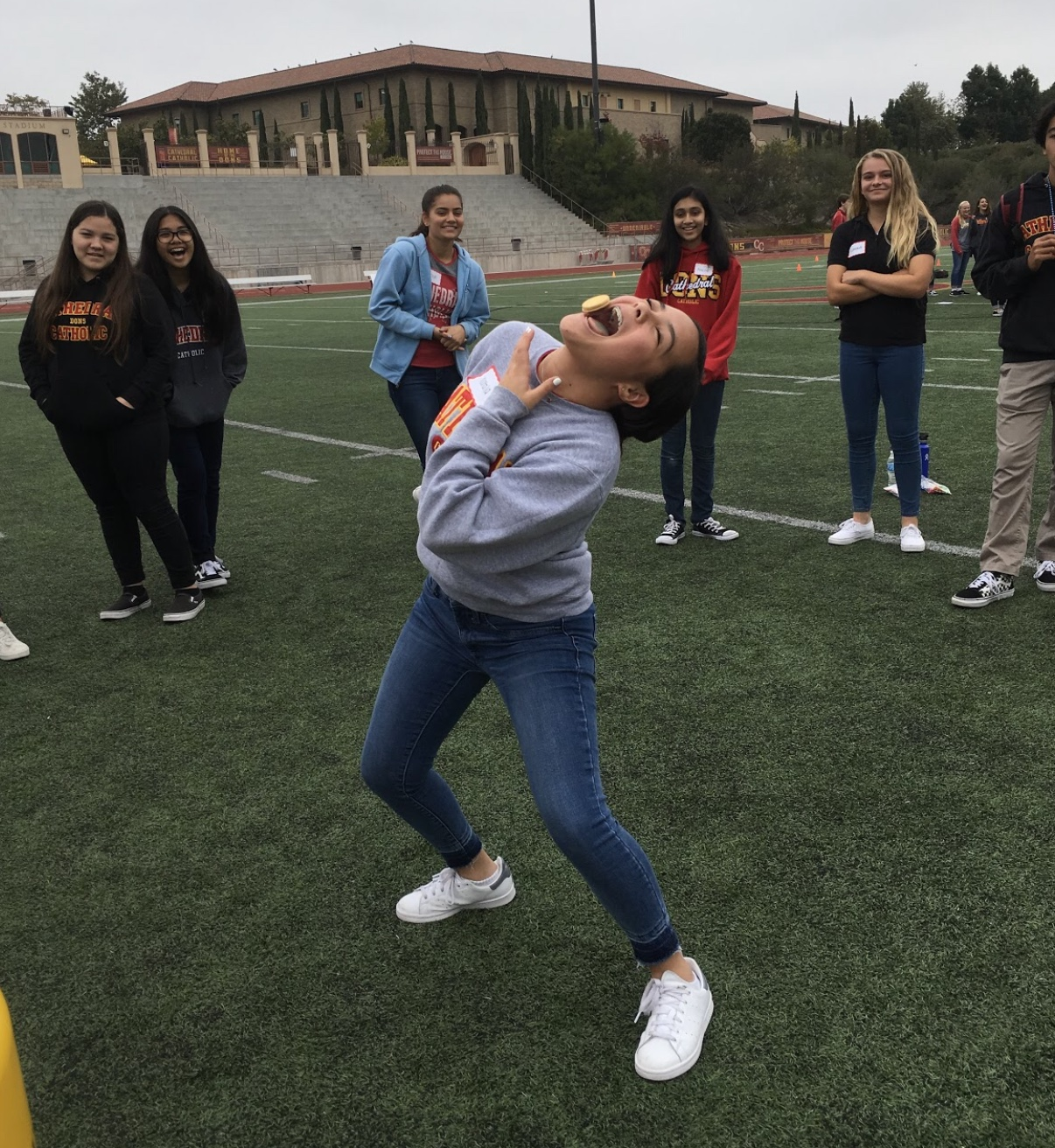 During her freshmen retreat last week, Natalia Dominguez 22' participated in the oreo game, eating her way to victory.