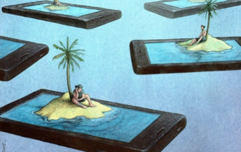 Artist Pawel Kuczynski exhibits a satirical depiction of social media's contribution to society's lack of physical interaction. Studies reveal 24 percent of teens acknowledge using their devices