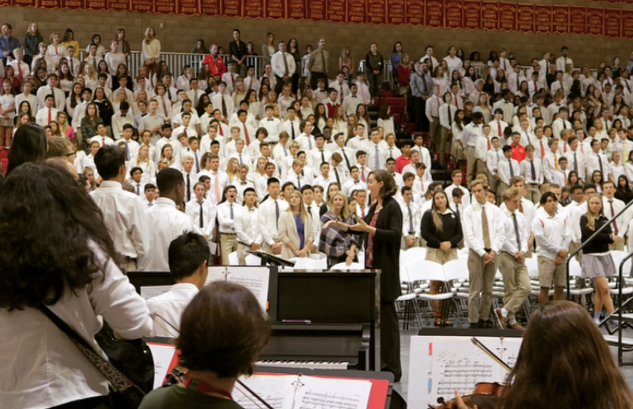 The Cathedral Catholic High School choir and orchestra played beautiful music at this week's mass on Wednesday and welcomed Father John Arthur for the feast of Saint Ignatius.