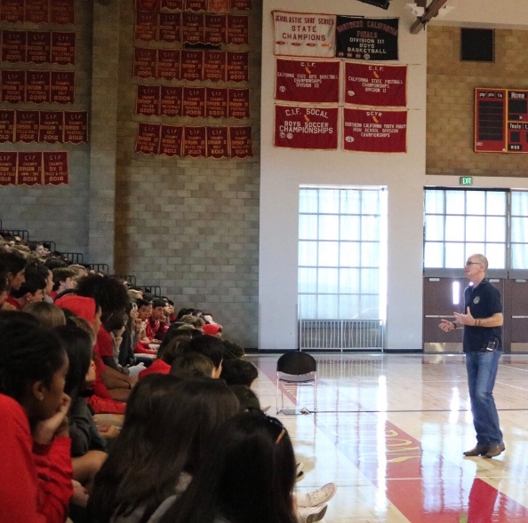 DEA agent Rocky Herron came to Cathedral Catholic High School to speak to students about the dangers of drugs and alcohol use. The presentation consisted of information on why students need to make smart choices, and videos of the long term effects that drugs have on people.