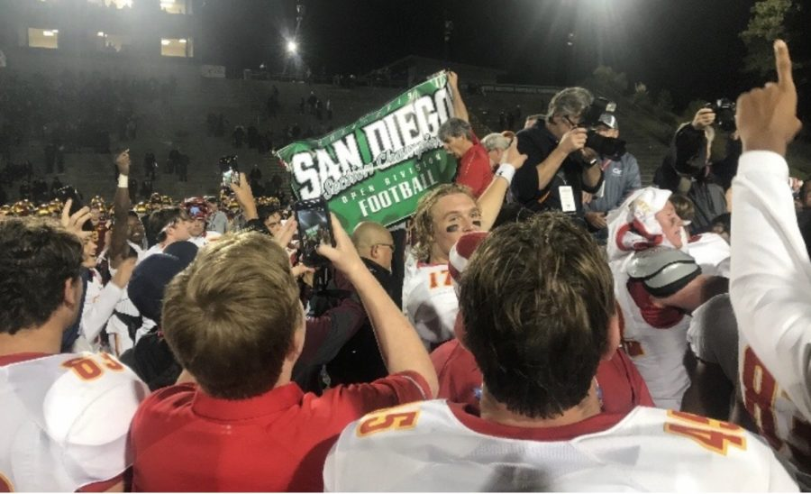 CCHS+celebrate+its+12th+San+Diego+Section+Championship+yesterday+as+it+defeated+TPHS+yesterday+at+Southwestern+College.+The+Dons+offense+and+steady+defense+outlasted+TPHS+as+it+overcame+an+early+14-0+deficit.+