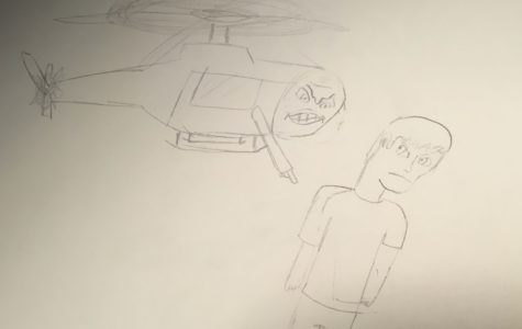 Boyer's drawing displays a literal interpretation of helicopter parenting, yet depicting its harsh realities.