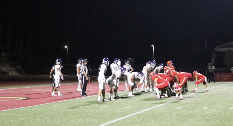 Cathedral Catholic High School's varsity football team lines up for a  extra point attempt after a momentum producing touchdown against Carlsbad High School.