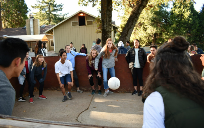 Members of the class of 2019 play gaga while on Kairos 12. Around 70 CCHS seniors traveled to the Palomar Mountain Christian Center this past week for Kairos 12, a retreat focused on strengthening bonds and relationships with God.