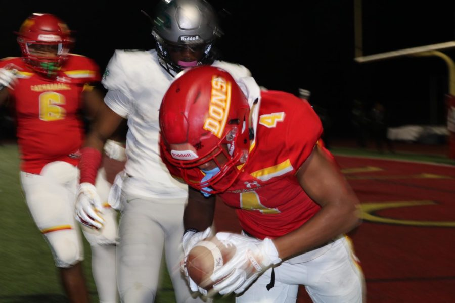 CCHS+holds+on+to+a+24-21+lead+as+Jalen+Dye+%E2%80%9819+gets+both+feet+down+on+his+game-winning+interception+that+sent+the+Dons+to+the+D1-AA+State+Championship.+Narbonne+High+School+was+threatening+to+score+and+potentially+take+the+lead+with+less+than+30+seconds+in+regulation+before+Dye%E2%80%99s+defensive+play+on+the+one+yard-line.