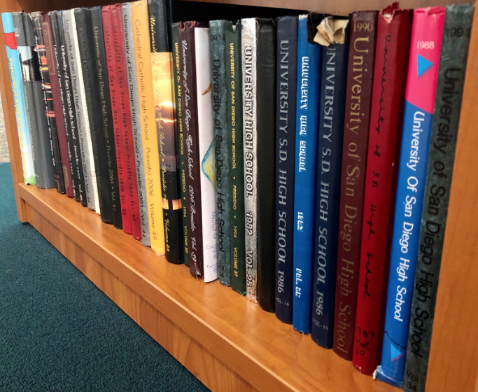 Dozens of USDHS and CCHS yearbooks line the shelves in the CCHS Academic Center, containing pages with 60 years of distant memories.