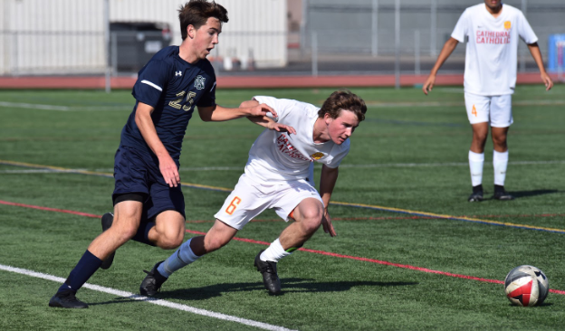 Defender Bradley Allgood '20 (6) attacks the ball during their game against San Diego High School during the Parker Cup on November 30th.
