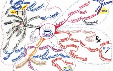 A mind map created by nutritionist Janet Forton illustrates the impact caffeine has on the human brain.