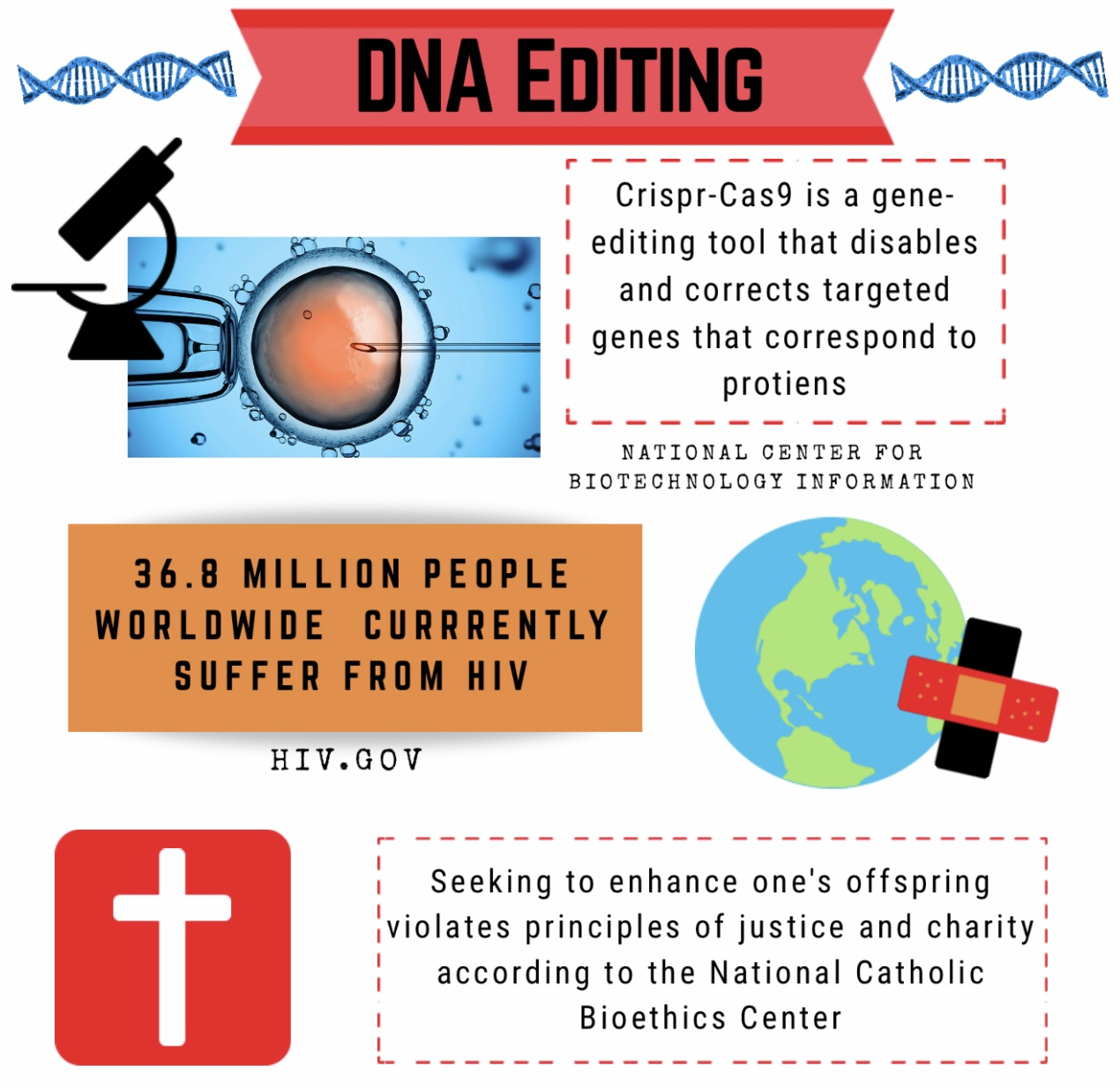 Statistics from the National Center for Biotechnology Information, HIV.gov, and the National Catholic Bioethics Center.