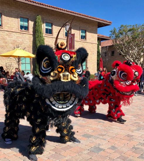 The San Diego Legendary Lion Dance Association, its dancers performing a thrilling high energy spectacle for the 2019 Year of the Pig, immersed Cathedral Catholic High School students into the Chinese culture at lunch on Friday. The traditional lion dance mimics a lion's movements to bring good luck and fortune for the Chinese New Year, beginning on Tuesday, February 5.