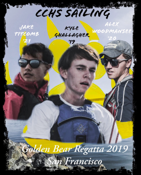 The+Cathedral+Catholic+Sailing+Team%E2%80%99s+promotional+image+for+the+2019+Golden+Bear+Regatta+disposes+Jake+Titcomb+%E2%80%9821+%28left%29+and+Kyle+Gallagher+%E2%80%9819+%28Center%29%2C+the+primary+skippers+for+the+event%2C+and+Alex+Woodmansee+%E2%80%9820+%28Right%29.+Grace+Lawson+%E2%80%9819+%28not+pictured%29+and+Woodmansee+are+the+primary+crews+for+the+upcoming+weekend+event.+