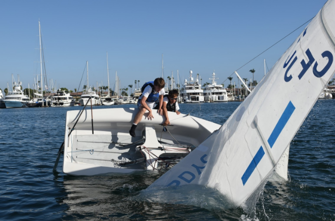 Kyle Gallagher '19 and Jake Titcomb '21 capsize during their sailing practice. The Dons are preparing for their final regatta of the regular season this weekend in Santa Barbara, where they hope to repeat the success they had in San Francisco two weeks ago.