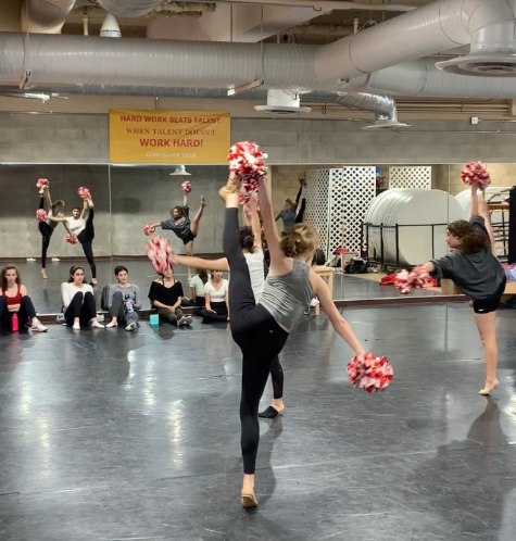 Jamie McCoy '22, a junior varsity dance team member, kicks her way into her daily practice, preparing for the Divas On The Dance Floor Dance Concert this Friday at 6:30 p.m. in the Guadalupe Center.
