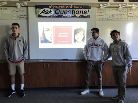 Cathedral Catholic High School students Ben Nash '19, Daniel Pronko '19, and Johnny Teixeira '19, leaders of the Dons for Life Club, led the club members in a discussion about the new Unplanned movie, which sheds light on the pro-life movement and the secrets of the abortion industry.