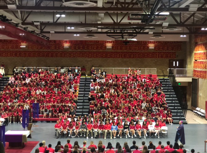 Bishop Dolan delivers his homily at the Unity Mass on Thursday morning. The Cathedral Catholic High School community comes together during Yellow Ribbon week to celebrate suicide prevention, along with a different theme for each day.
