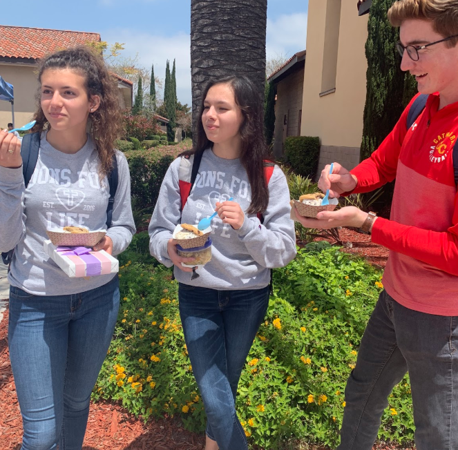 Cecilia Bacich '20, Kate Fernandez '20, and Cameron Nash '20 (left to right), members of the on-campus pro-life group, Dons for Life, enjoy ice cream catered on Friday by Baked Bear, provided by Dons for Life, which arranged for a portion of each purchase to be donated to Birth Choice, a mobile clinic and care center that offers free services to support and education regarding pregnancy, reproductive and sexual health, parenting, and reproductive loss, in honor of Mother's Day next Sunday.