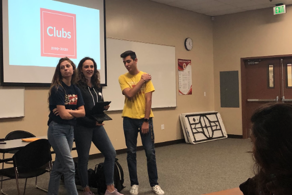 Associated Student Body held an informational meeting in the Lecture Hall Friday for approximately 65 students who desire to create or continue a club on campus. ASB members Adrienne Rasmussen '20, Michaela Marquand '20, and Luis Garnica '20 (left to right) explained the club application process as well as the new categorization of clubs into sections of religious, culture, hobby, and service.