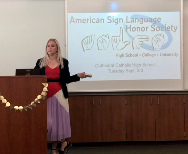 Mrs. Amber Elliott leads the school year's first American Sign Language Honor Society meeting Tuesday, when the 20 members learned about the new officers, upcoming Deaf event requirements, and expectations for the society.