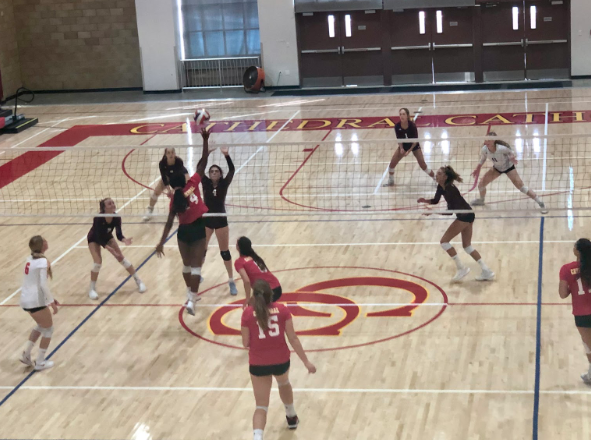 Varsity volleyball player Sydney Moore '20 spikes the ball over the net to receive a point for the Dons in the team's game against The Bishop's School. Moore helped the Dons defeat the Knights 3-0.