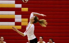 University of Notre Dame-bound Lindsey Miller '20 serves for the Lady Dons. The middle blocker has tallied 154 kills and 54 blocks on the season.