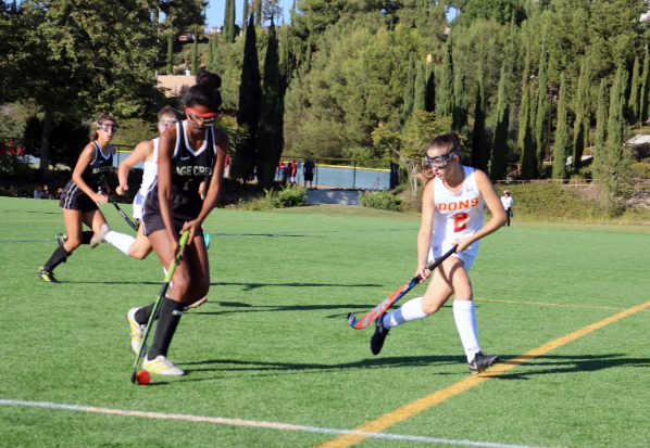 Left half back Abby Bulich '21 channels a forward from Sage Creek High School during the game on Tuesday, which the Dons went on to win 6-0. The Dons now have a record of 8-6-2 and #13 in California Interscholastic Federation power rankings.