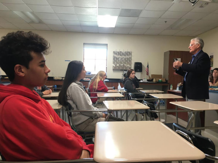 """Dr. Carl Schwab, who was a general and vascular surgeon for 55 years and grandfather of Audrey Covington '20, spoke about his job experience and gave advice to aspiring medical field students during the future physicians club at lunch on Thursday. Dr. Schwab emphasized the importance of finding a career you love and told students, """"Be humble, but be happy with yourself."""""""