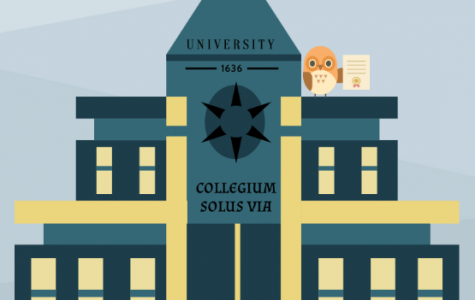 """The image depicts a university founded in 1636, the year the first American university was established, and includes the Latin translation of """"College is the only way."""""""