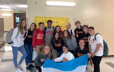 Cathedral Catholic High School spanish students and the Argentinian exchange students pose for a picture on their first day visiting CCHS. The exchange students will spend one month at CCHS before moving on to the next city on their trip.