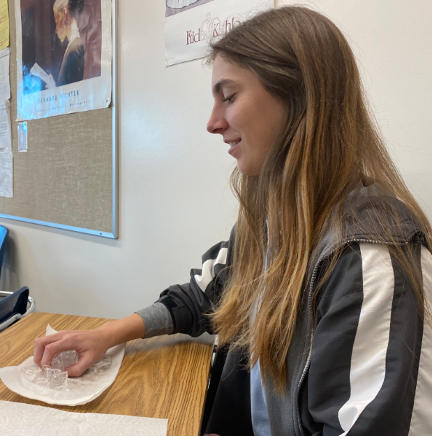 Julia Van Wey '20 grabs a handful of ice during Mr. Francis Caro's gold 6 psychology 114 class. The class held ice to create low-level pain to test the connection between physical and emotional pain.