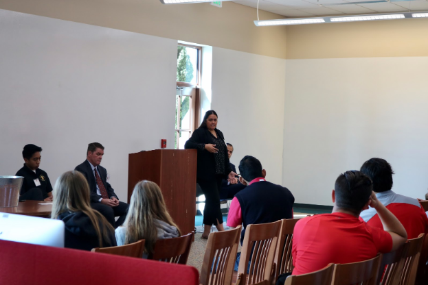 Several alumni came to Cathedral Catholic High School last Friday to talk about their jobs on the annual junior career day. Alumni were organized into groups with other alumni of similar professions to talk about their jobs.
