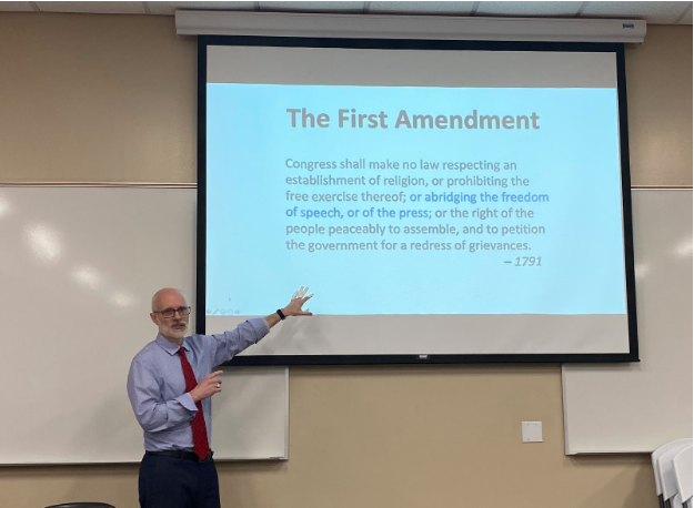 Mr. Matthew Hall, the editorial and opinion director at The San Diego Union-Tribune, spoke to El Cid, Yearbook, and CCTV students Tuesday during seventh period about opinion writing and how to combat fake news. The occasion served as the Quill and Scroll International Journalism Honor Society's kickoff event this semester.