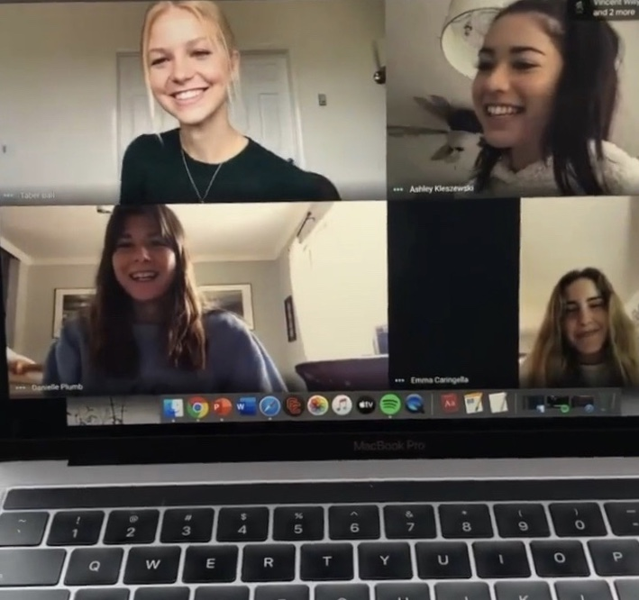 Taber Ball '20, Ashley Kleszewski '20, Danielle Plumb '20, and Emma Caringella '20 (left to right, top to bottom) meet on Google Meet to discuss schoolwork and upcoming events.