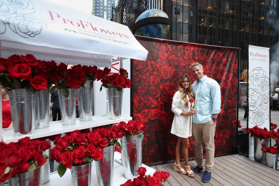 The Bachelor contestant Sean Lowe poses with his wife Catherine Giudici, who he met on The Bachelorette.