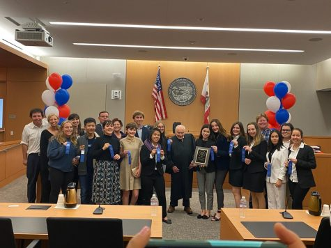 Cathedral Catholic's Mock Trial poses after their county win in 2020