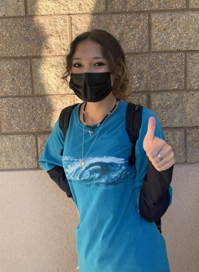 Sophomore Sophia Palazzolo shares her sophomore pride by wearing the color blue on Homecoming week.
